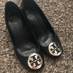 Tory Burch black leather wedges. Peep toe.